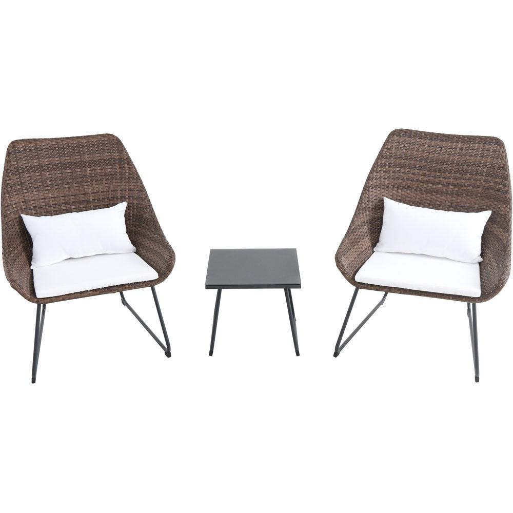 3-Piece Wicker Patio Conversation Set with White Cushions