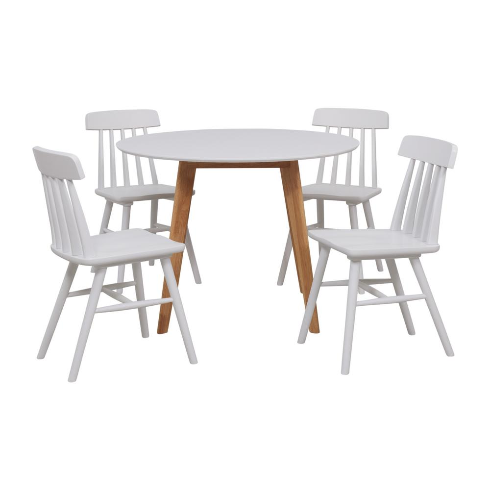 5 Piece Small Round Table And 4 Dining Chairs: Handy Living Edgewater 5-Piece Dining Set With White