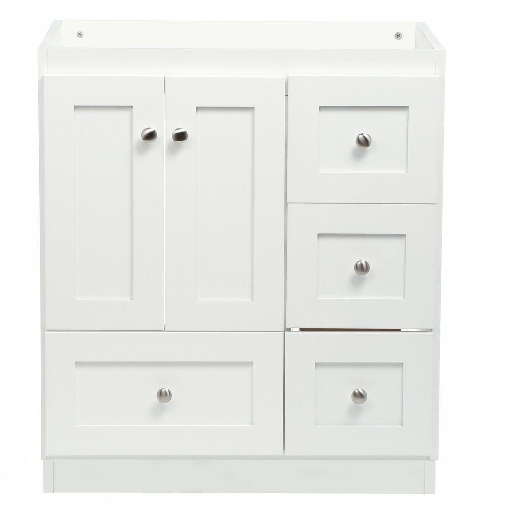 Simplicity By Strer Shaker 30 In W X 21 D 34 5 H Vanity With Right Drawers Cabinet Only Satin White