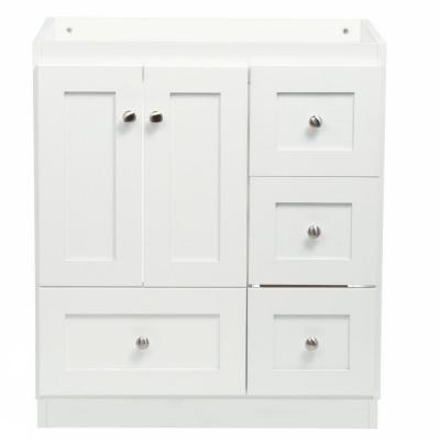Shaker 30 in. W x 21 in. D x 34.5 in. H Vanity with Right Drawers Cabinet Only in Satin White