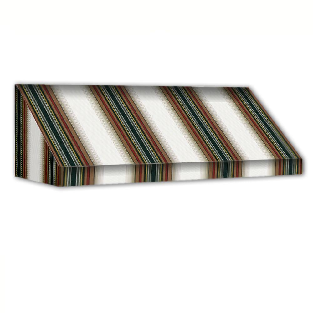 AWNTECH 6 ft. New Yorker Window/Entry Awning (24 in. H x 36 in. D) in Burgundy / Forest / Tan Stripe