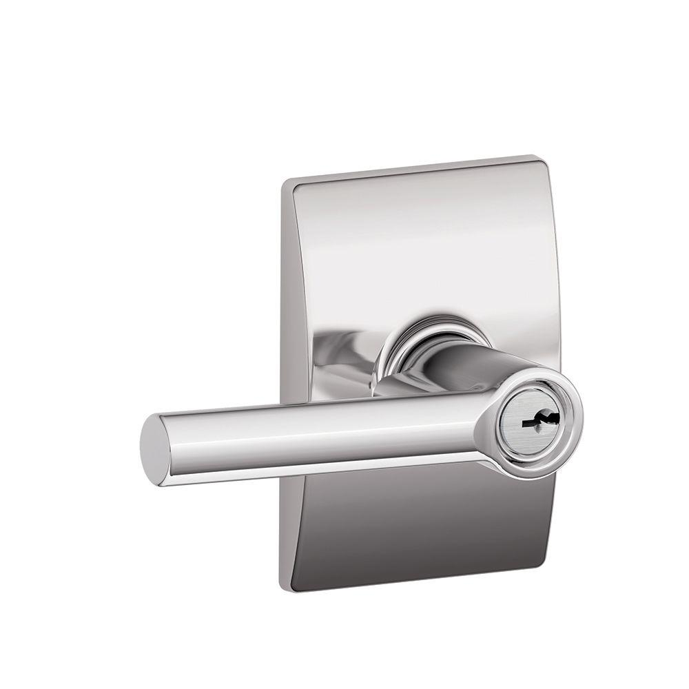 Schlage Broadway Bright Chrome Entry Door Lever With Century Trim F51a Brw 625 Cen The Home Depot