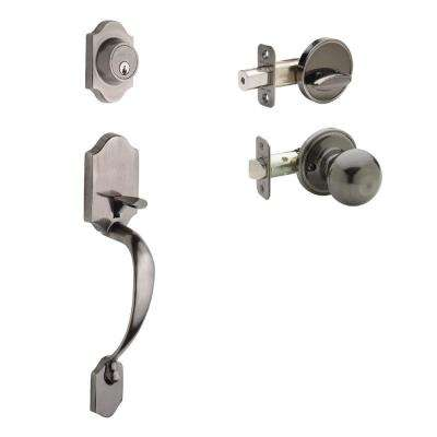 Heritage Antique Nickel Door Handleset and Ball Knob Trim