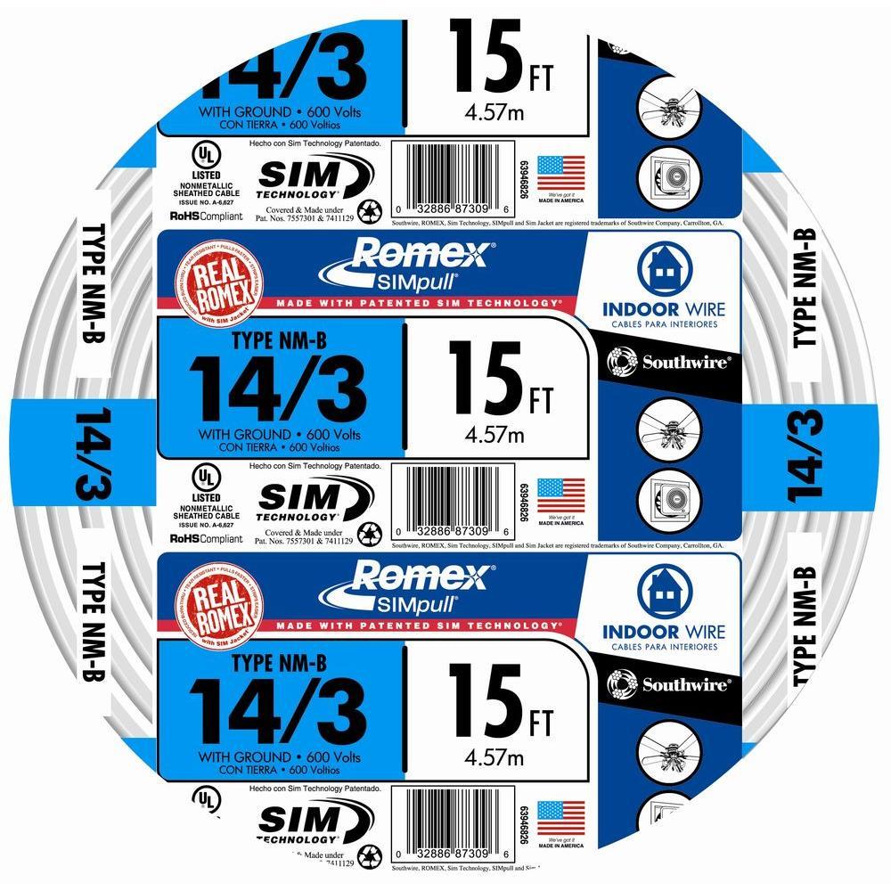 15 ft. 14/3 Solid Romex SIMpull CU NM-B W/G Wire