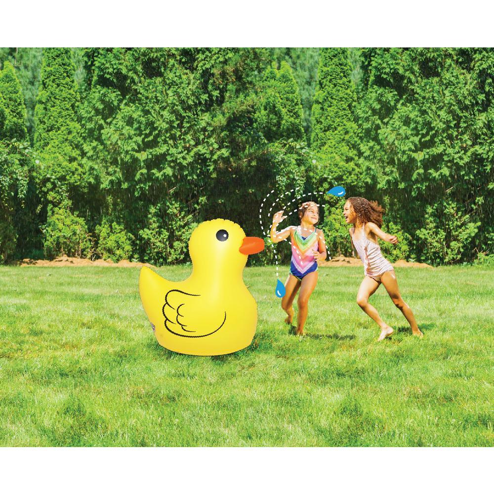 Cute 2 ft. Yellow Duck Sprinkler Inflatable Duck Kids Yard Sprinkler