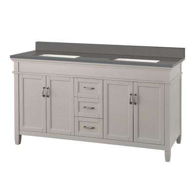 Ashburn 61 in. W x 22 in. D Vanity Cabinet in Grey with Engineered Marble Vanity Top in Slate Grey with White Basins