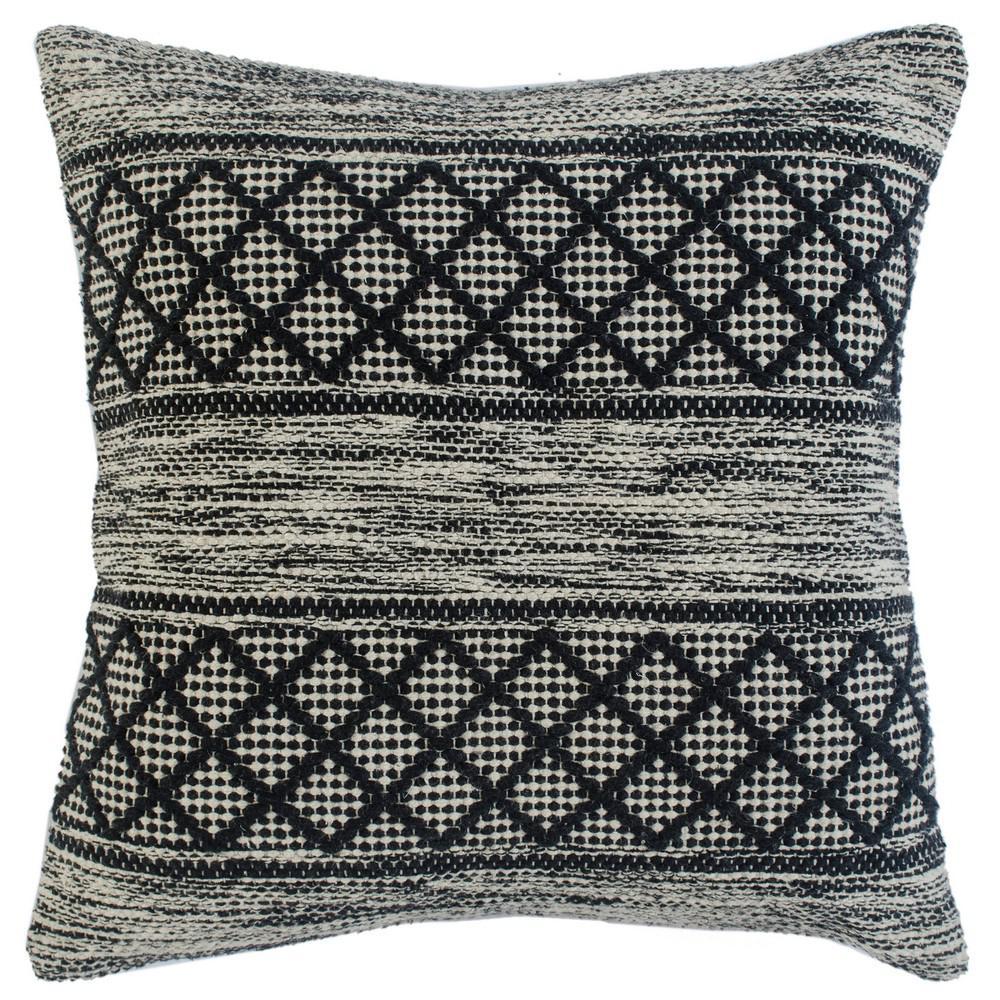 Diamond Gray / Black Trellis Geometric Soft Poly Fill 20 in. x 20 in. Throw Pillow