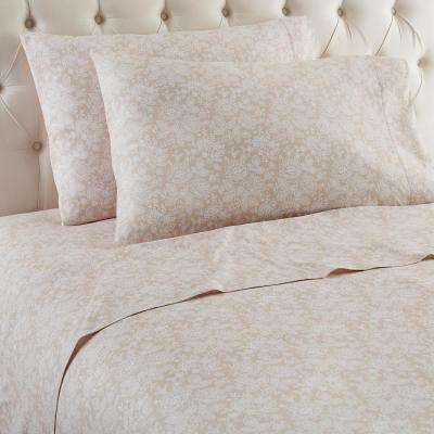 3-Piece Enchantment Taupe Twin Polyester Sheet Set