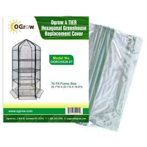20.1 in. W x 20.1 in. D x 76.8 in. H 4-Tier Hexagonal Greenhouse Replacement Cover