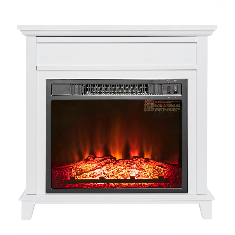 Electric Portable Fireplace Heater Part - 20: Freestanding Electric Fireplace Heater In White Wooden