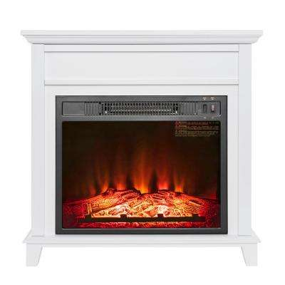 27 in. Freestanding Electric Fireplace Heater in White Wooden