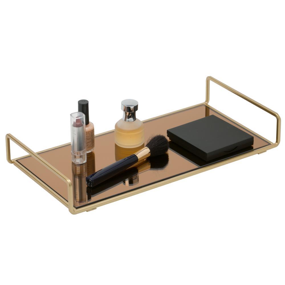 Classic Design Mirror Vanity Tray in Gold