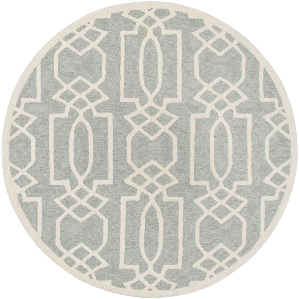 Bella Gray/Ivory 5 ft. x 5 ft. Round Area Rug