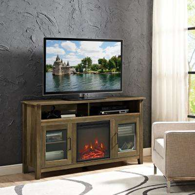 58 in. Rustic Oak Wood Highboy Fireplace TV Stand