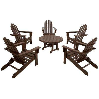 Cape Cod Vintage Lantern 6-Piece Folding Adirondack Patio Conversation Set