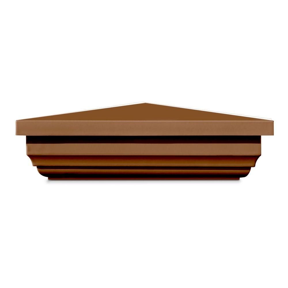 Veranda 5 in. x 5 in. Vinyl Anaheim Brown New England Pyramid Post Cap