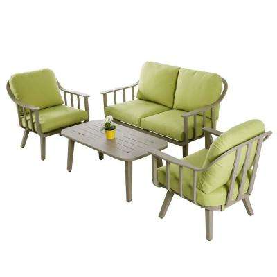 Aluminum Patio Conversation Set with Green Cushions (4-Piece)