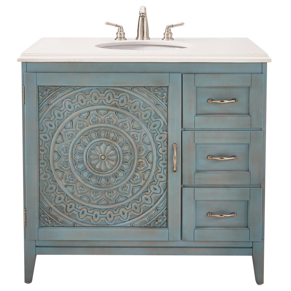 W Single Vanity In Blue Wash With Engineered Stone Vanity Top In