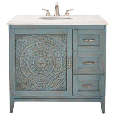 Chennai 37 in. W Single Vanity in Blue Wash with Engineered Stone Vanity Top in Crystal White with White Basin