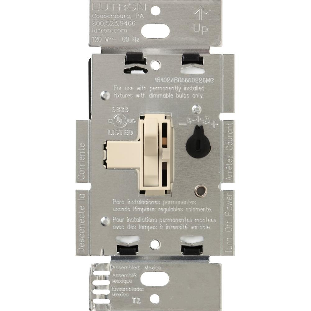 Lutron Toggler 600-Watt Single-Pole Magnetic Low-Voltage Dimmer, Light Almond