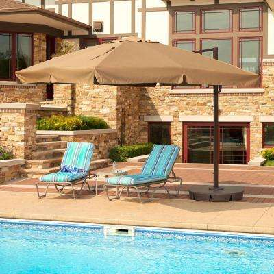 Santorini II 10 ft. Square Cantilever with Valance Patio Umbrella in Stone Sunbrella Acrylic