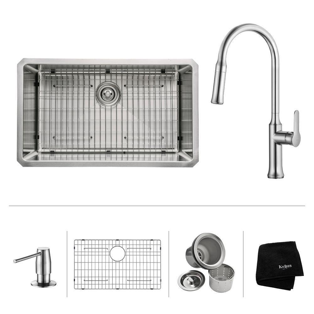KRAUS All In One Undermount Stainless Steel 30 In. Single Bowl Kitchen Sink