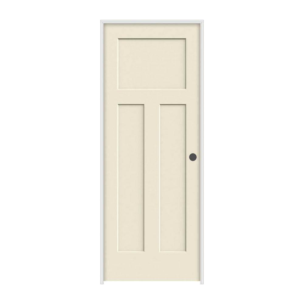 24 in. x 80 in. Craftsman Primed Left-Hand Smooth Solid Core