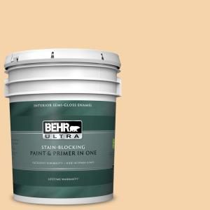 Behr Ultra 5 Gal N260 2 Almond Latte Semi Gloss Enamel Interior Paint And Primer In One 375005 The Home Depot