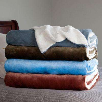 Grey Fleece/Sherpa Polyester Twin Blanket