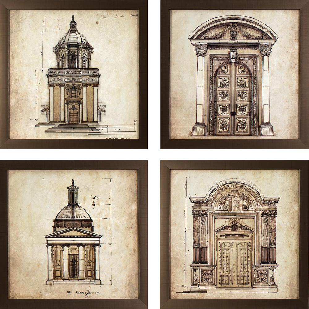 European Architectural Printed Framed Wall Art (
