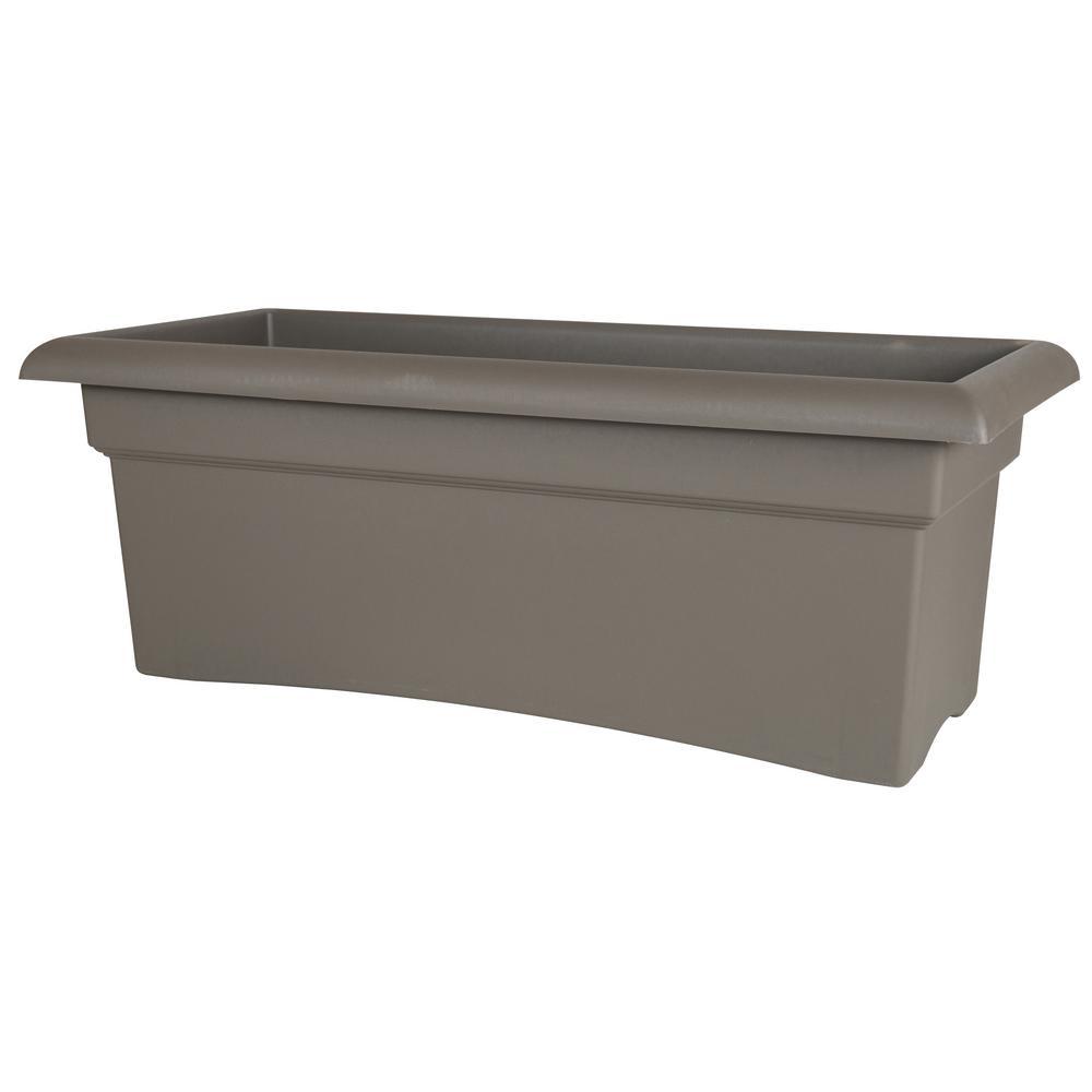 Veranda 26 in. Peppercorn Plastic Deck Box Planter