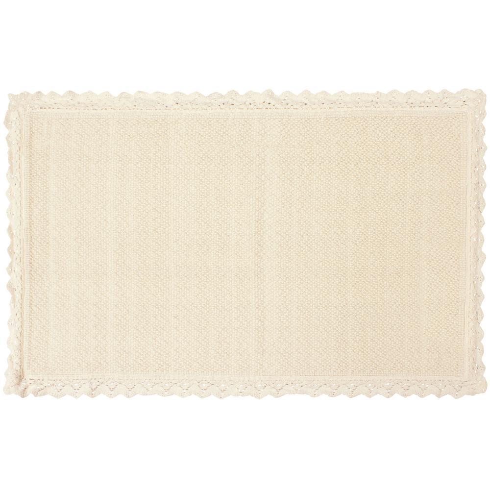 Reversible Crochet Beaded 20 in. x 34 in. Bath Rug, Ivory