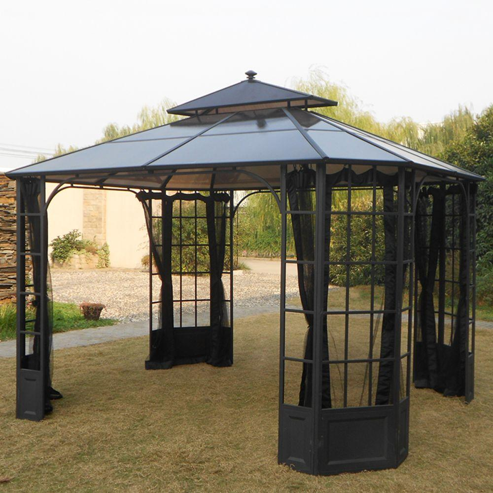 Hampton Bay 12 ft. x 10 ft. Bay Window Polycarbonate Top Gazebo-L ...