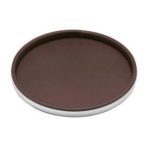Kraftware Sophisticates 14 inch Round Serving Tray in Brown and Brushed Chrome by Kraftware