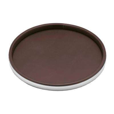 Sophisticates 14 in. Round Serving Tray in Brown and Brushed Chrome
