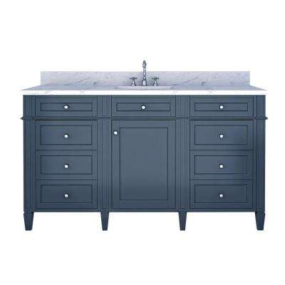Samantha 60 in. W x 22 in. D Single Vanity in Gray with Marble Vanity Top in White with White Basin