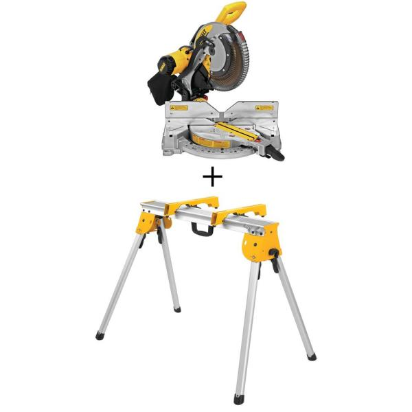 15 Amp Corded 12 in. Double Bevel Compound Miter Saw with Bonus Heavy-Duty Work Stand