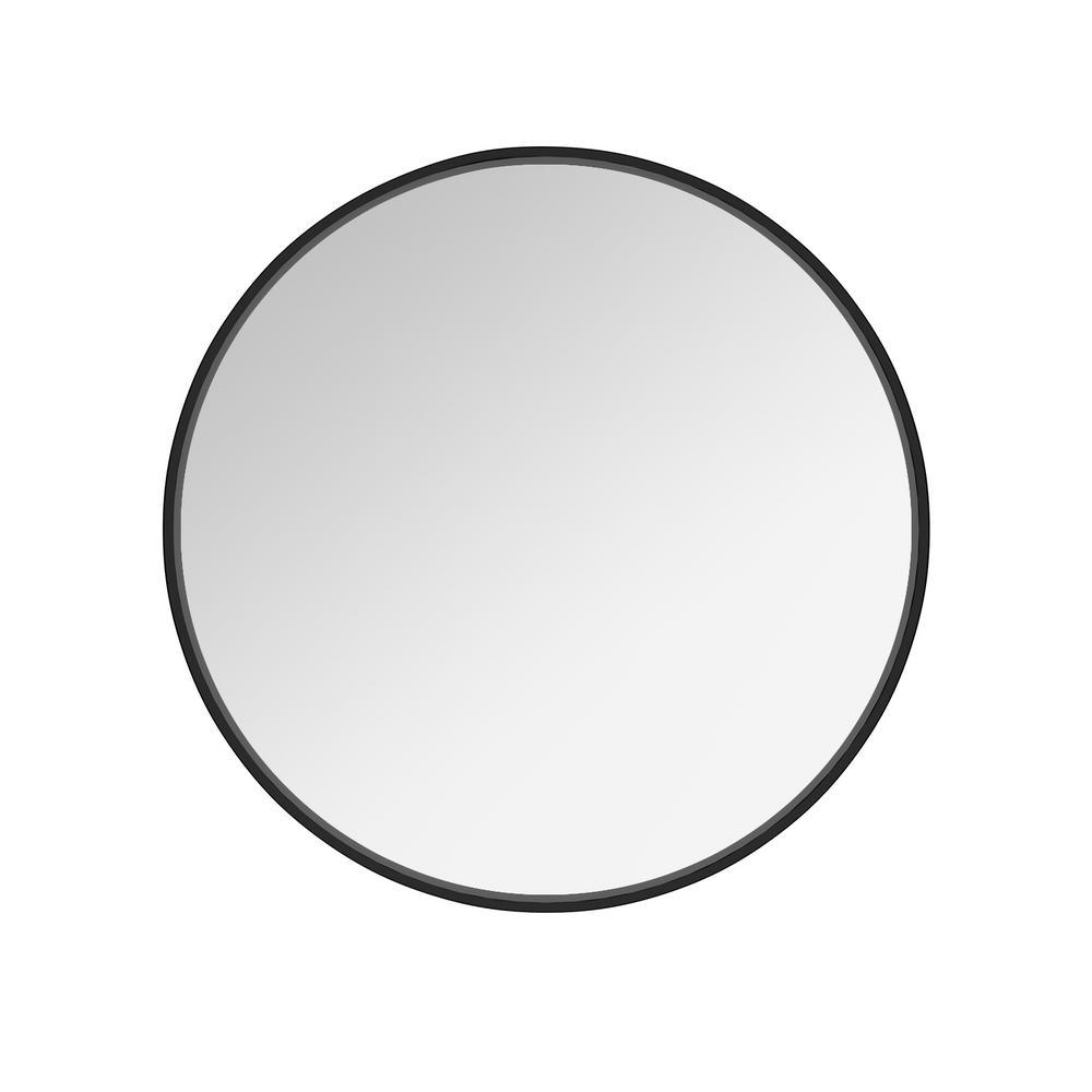 Josiah 20 in. W x 20 in. H Framed Round Bathroom Vanity Mirror in Black, Silver and Copper
