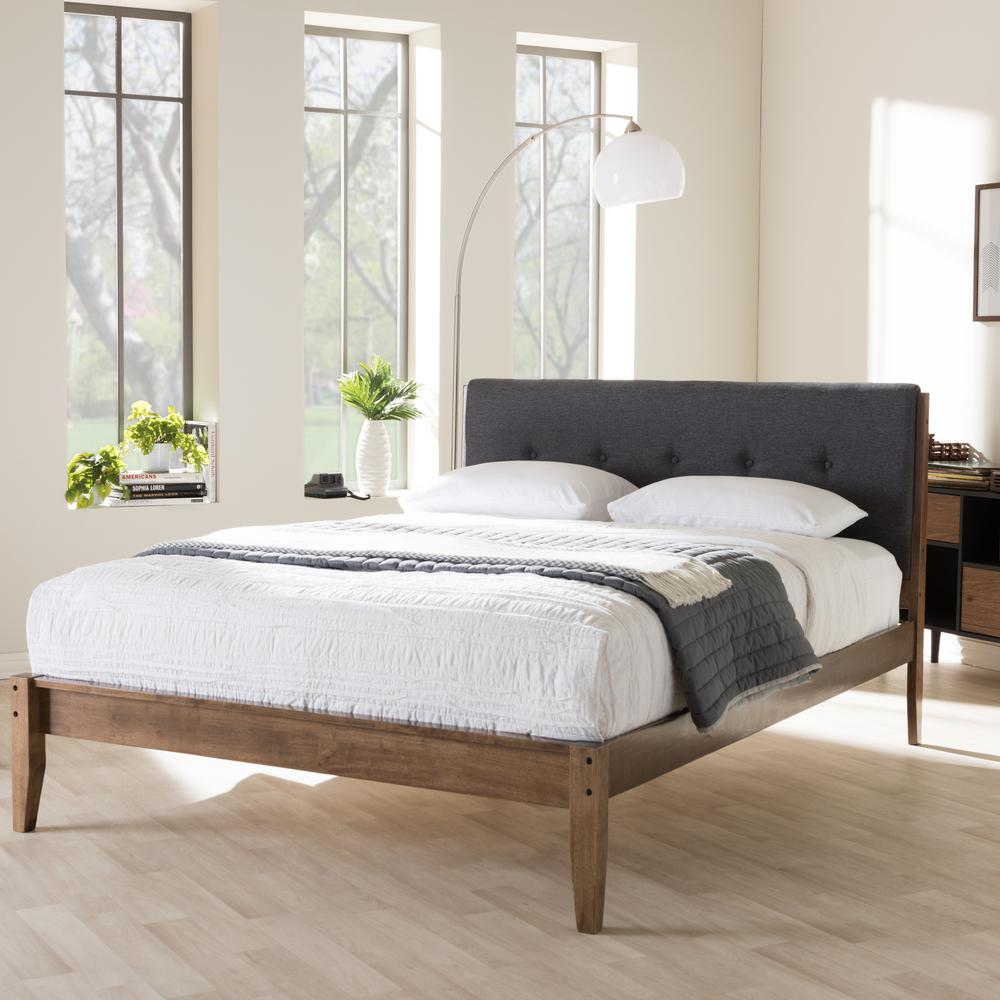 Baxton Studio Leyton Gray Queen Upholstered Bed
