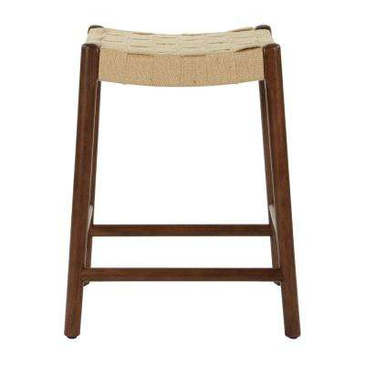 Kai 24 in. Classic Walnut Stool with Jute Webbing