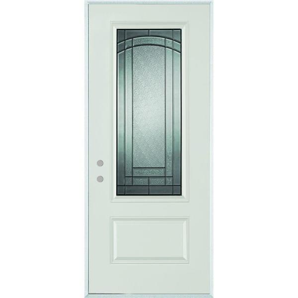 33.375 in. x 82.375 in. Chatham 3/4 Lite 1-Panel Painted Right-Hand Inswing Steel Prehung Front Door