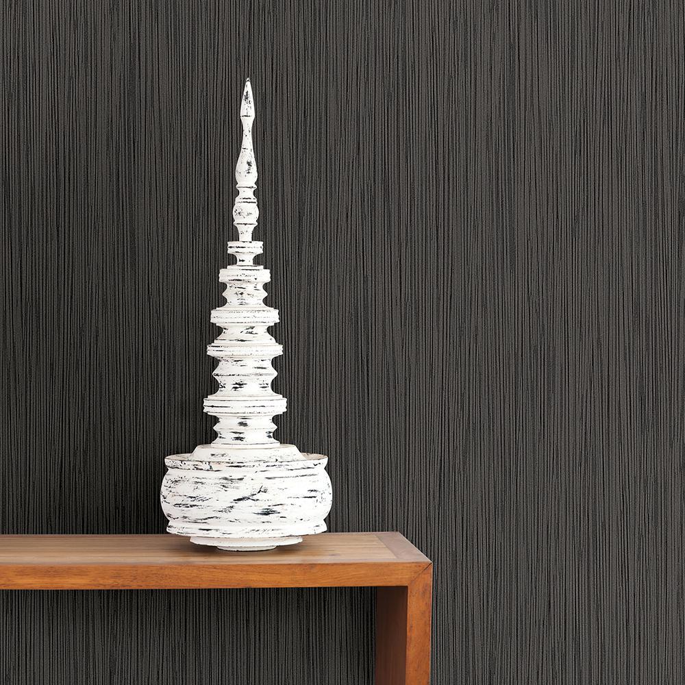 56.4 sq. ft. Ellington Black Horizontal Striped Texture Wallpaper