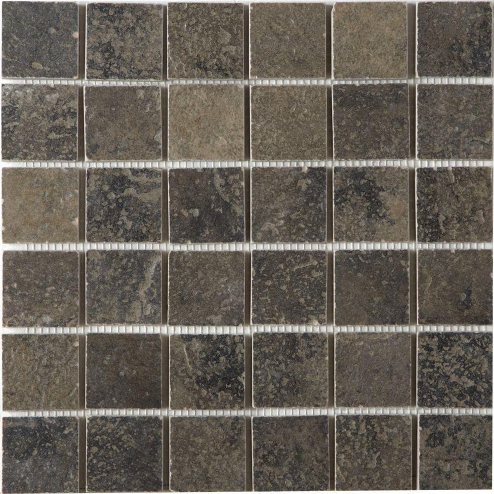 MARAZZI Terra 12 in. x 12 in. Bengal Slate Porcelain Mesh-Mounted Mosaic Tile-DISCONTINUED