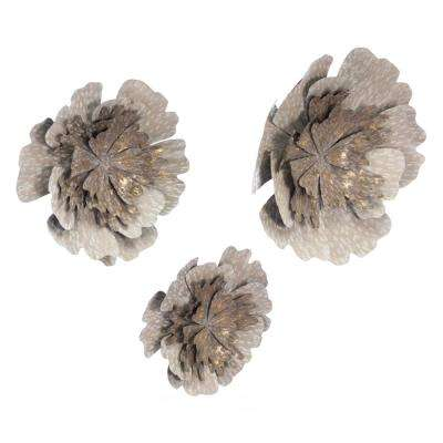 Metal Antique Flowers Wall Decor (Set of 3)