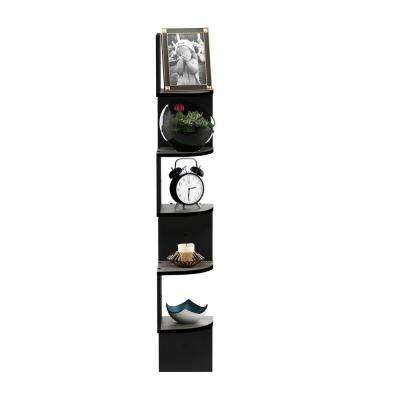 5 Tier French Oak Grey/Black Wall Mount Floating Radial Corner Shelf