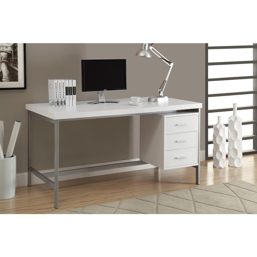Monarch Specialties White Desk I 7046 The Home Depot