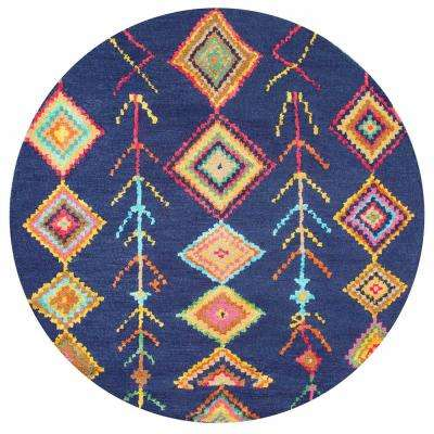 Belini Navy 6 ft. Round Area Rug