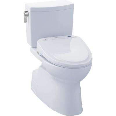 Vespin II Connect 2-Piece 1.0 GPF Elongated Toilet with Washlet S350e Bidet and CeFiOntect in Cotton White