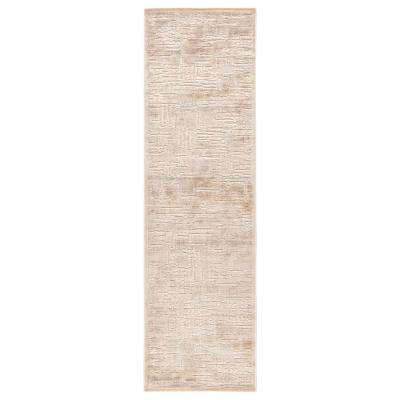Fables Beige 2 ft. 6 in. x 8 ft. Abstract Runner Rug