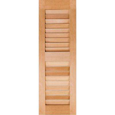 12 in. x 34 in. Exterior Real Wood Pine Louvered Shutters Pair Unfinished